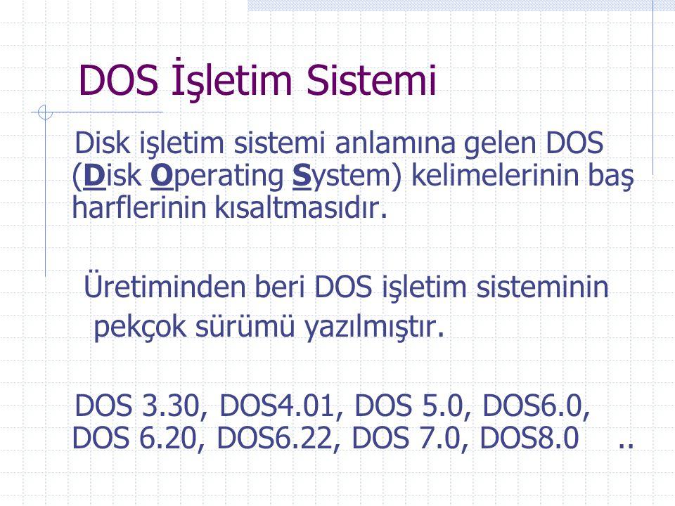 DOS İşletim Sistemi Disk işletim sistemi anlamına gelen DOS (Disk Operating System) kelimelerinin baş harflerinin kısaltmasıdır.