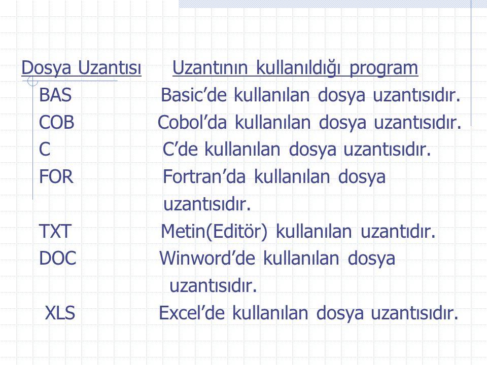 Dosya Uzantısı Uzantının kullanıldığı program