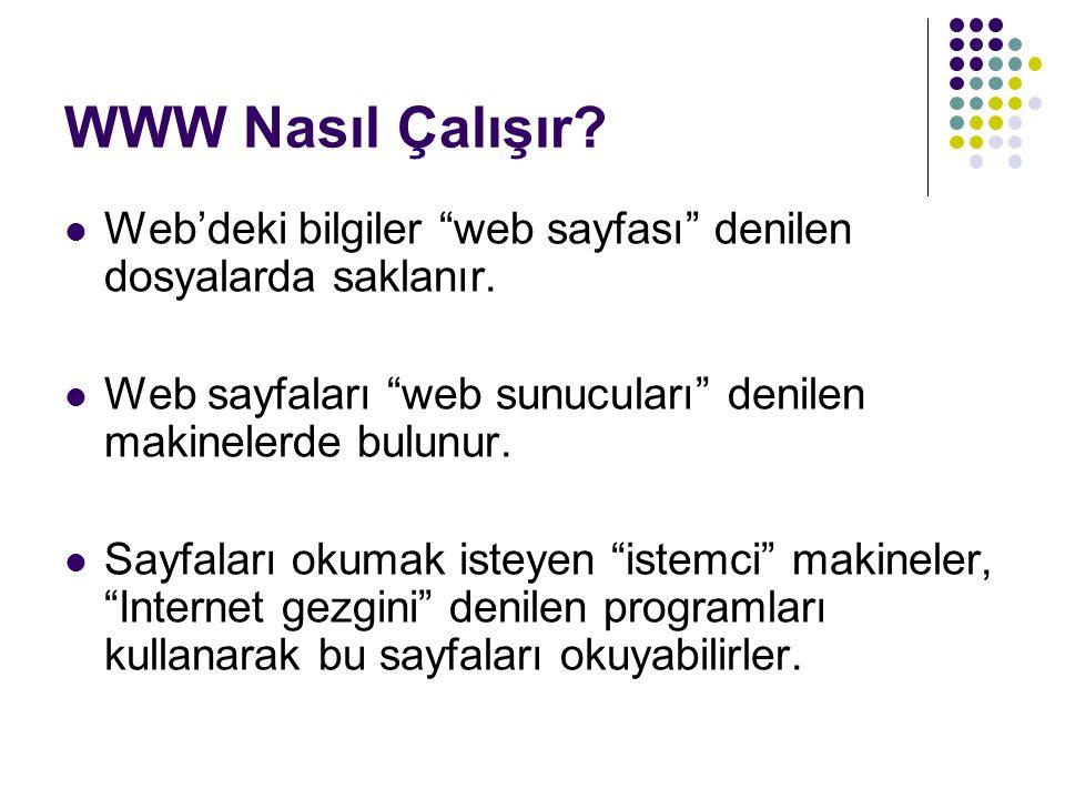 WWW Nasıl Çalışır Web'deki bilgiler web sayfası denilen dosyalarda saklanır. Web sayfaları web sunucuları denilen makinelerde bulunur.