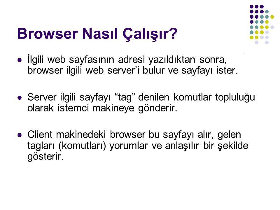 Browser Nasıl Çalışır İlgili web sayfasının adresi yazıldıktan sonra, browser ilgili web server'i bulur ve sayfayı ister.