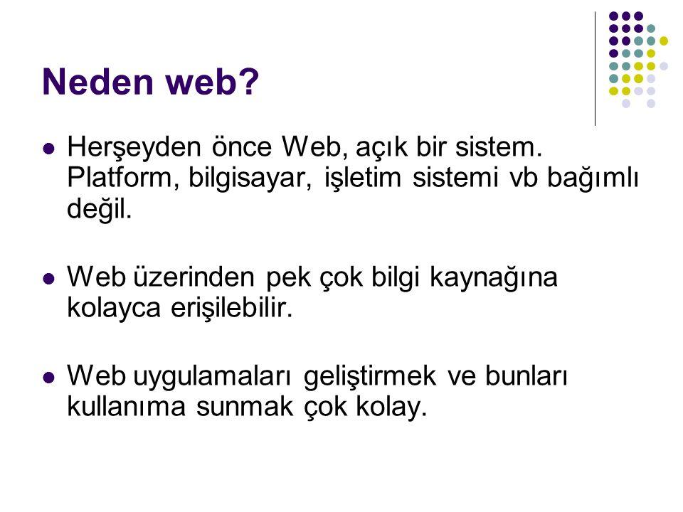 Neden web Herşeyden önce Web, açık bir sistem. Platform, bilgisayar, işletim sistemi vb bağımlı değil.