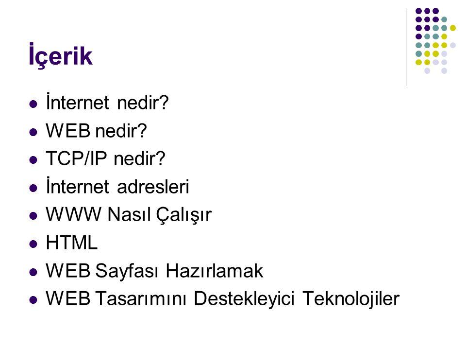 İçerik İnternet nedir WEB nedir TCP/IP nedir İnternet adresleri