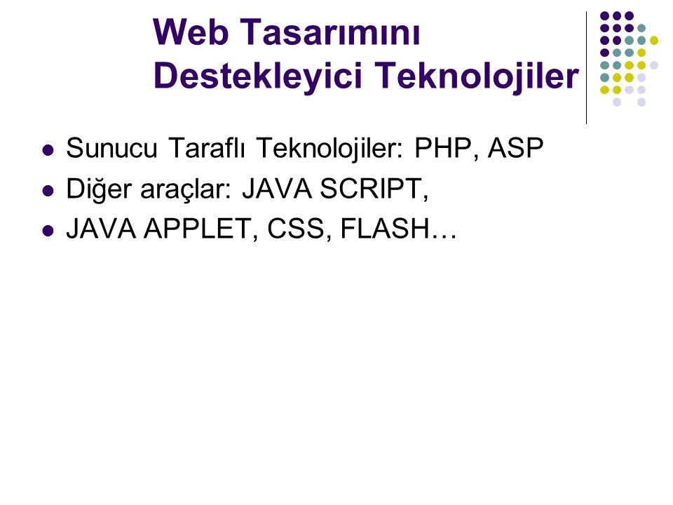 Web Tasarımını Destekleyici Teknolojiler