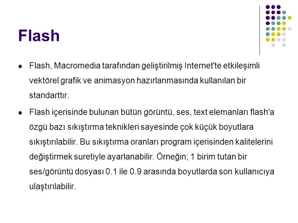 Flash Flash, Macromedia tarafından geliştirilmiş Internet te etkileşimli vektörel grafik ve animasyon hazırlanmasında kullanılan bir standarttır.