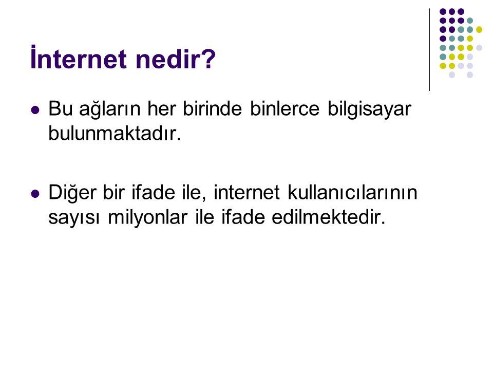 İnternet nedir Bu ağların her birinde binlerce bilgisayar bulunmaktadır.