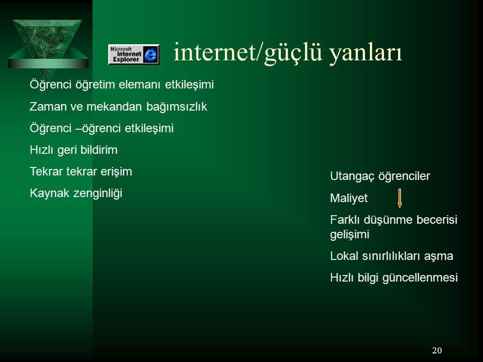 internet/güçlü yanları
