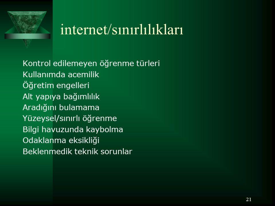 internet/sınırlılıkları