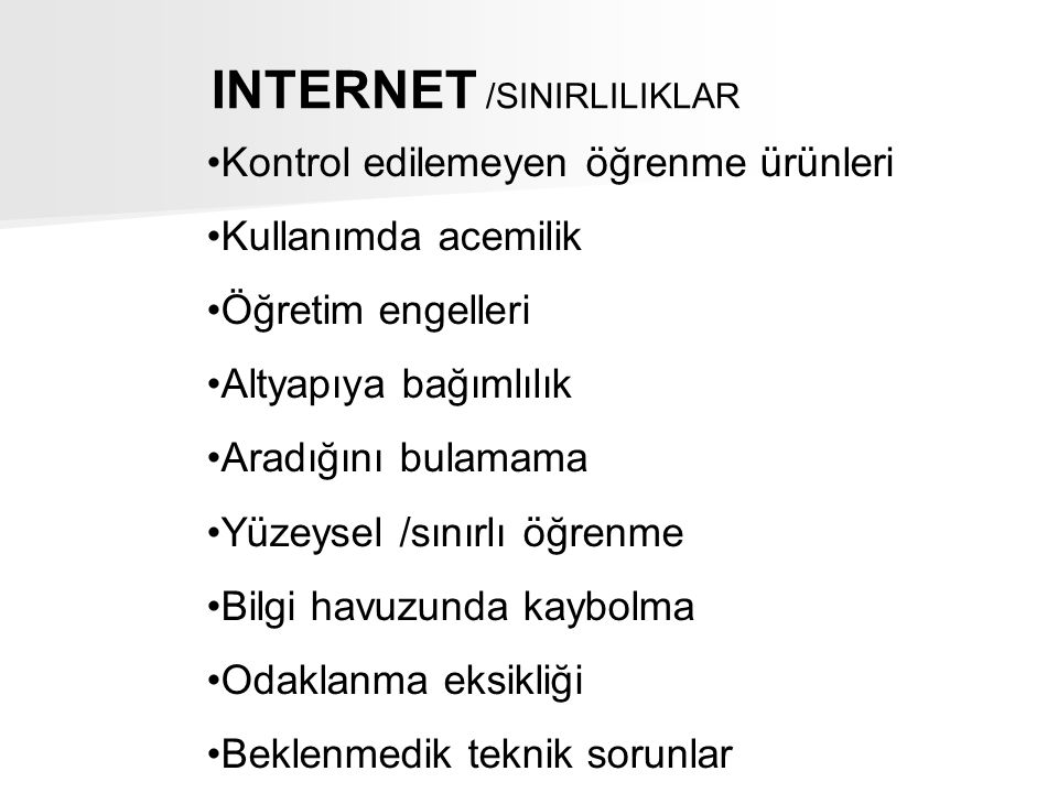 INTERNET /SINIRLILIKLAR