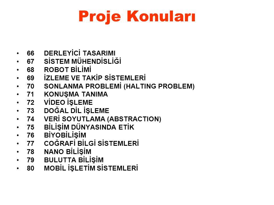 Proje Konuları 66 DERLEYİCİ TASARIMI 67 SİSTEM MÜHENDİSLİĞİ