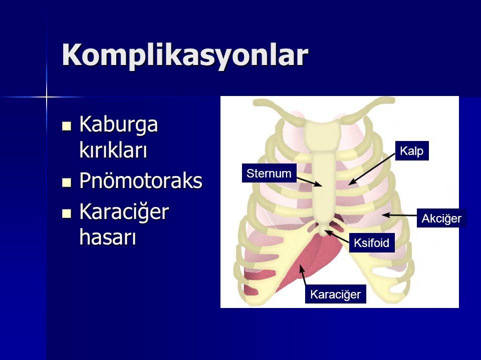 Komplikasyonlar Kaburga kırıkları Pnömotoraks Karaciğer hasarı Kalp