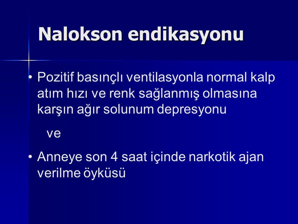 Nalokson endikasyonu Pozitif basınçlı ventilasyonla normal kalp atım hızı ve renk sağlanmış olmasına karşın ağır solunum depresyonu.