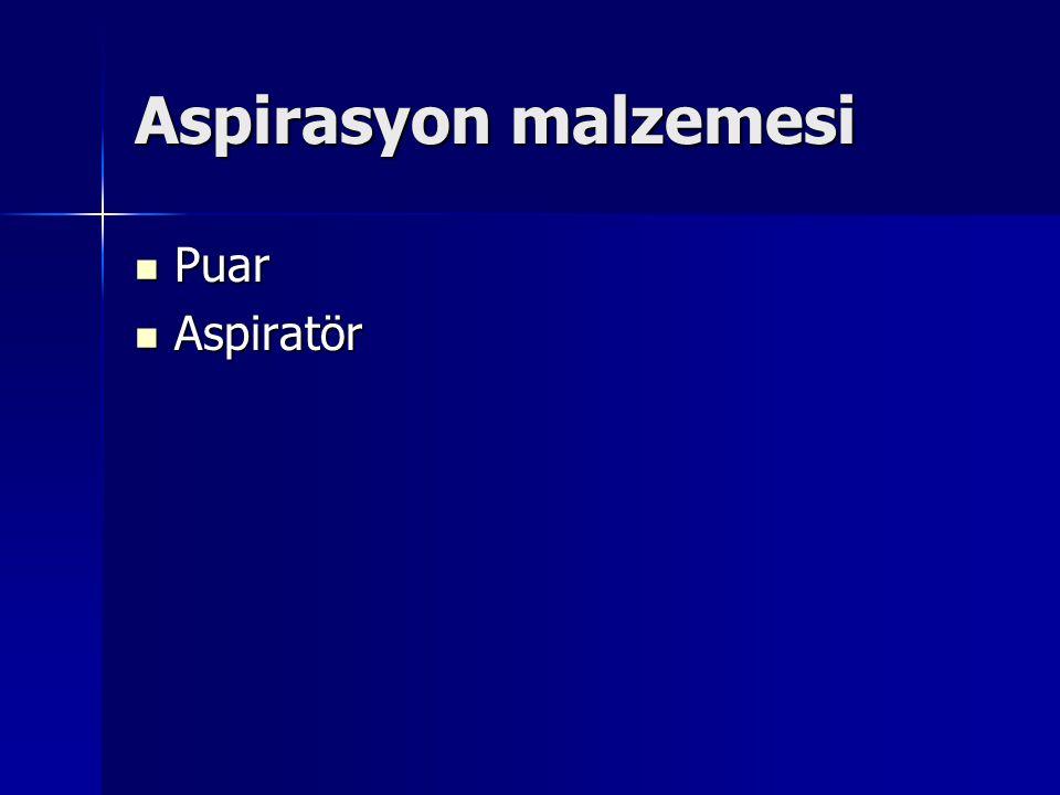 Aspirasyon malzemesi Puar Aspiratör
