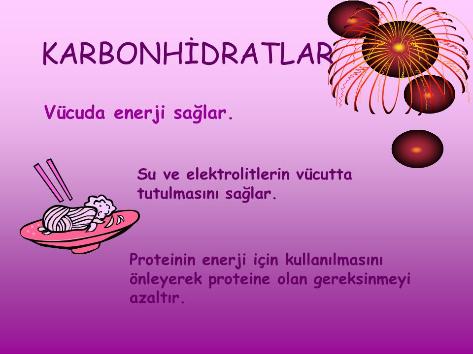 KARBONHİDRATLAR Vücuda enerji sağlar. Su ve elektrolitlerin vücutta
