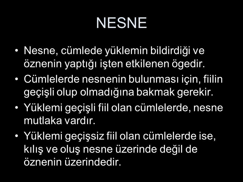 NESNE Nesne, cümlede yüklemin bildirdiği ve öznenin yaptığı işten etkilenen ögedir.