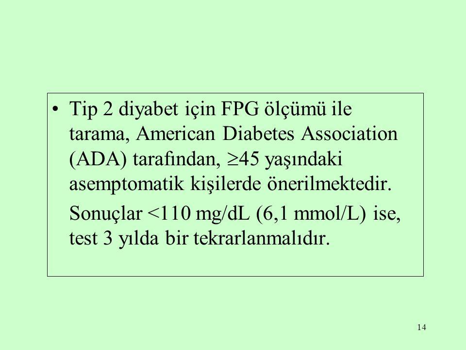 Tip 2 diyabet için FPG ölçümü ile tarama, American Diabetes Association (ADA) tarafından, 45 yaşındaki asemptomatik kişilerde önerilmektedir.