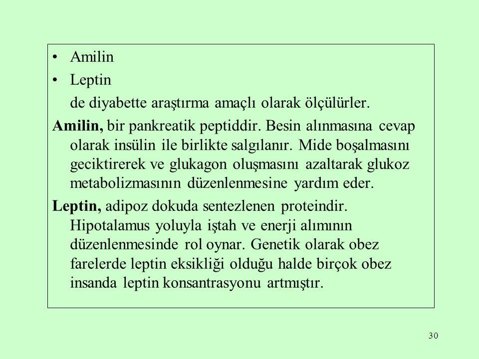 Amilin Leptin. de diyabette araştırma amaçlı olarak ölçülürler.