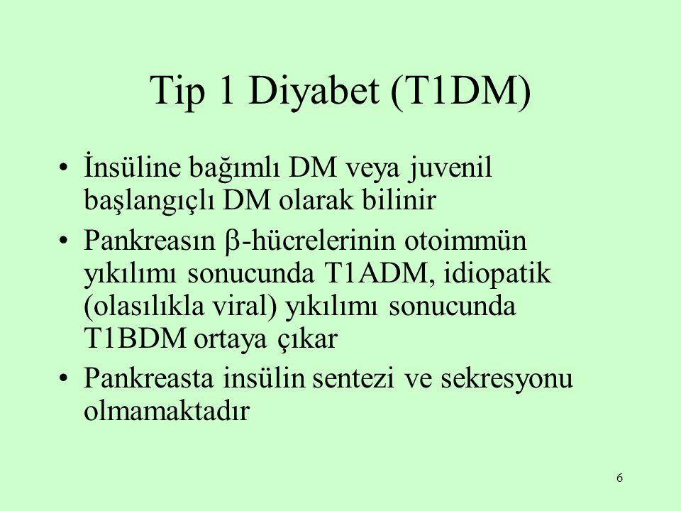 Tip 1 Diyabet (T1DM) İnsüline bağımlı DM veya juvenil başlangıçlı DM olarak bilinir.