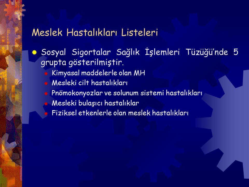 Meslek Hastalıkları Listeleri