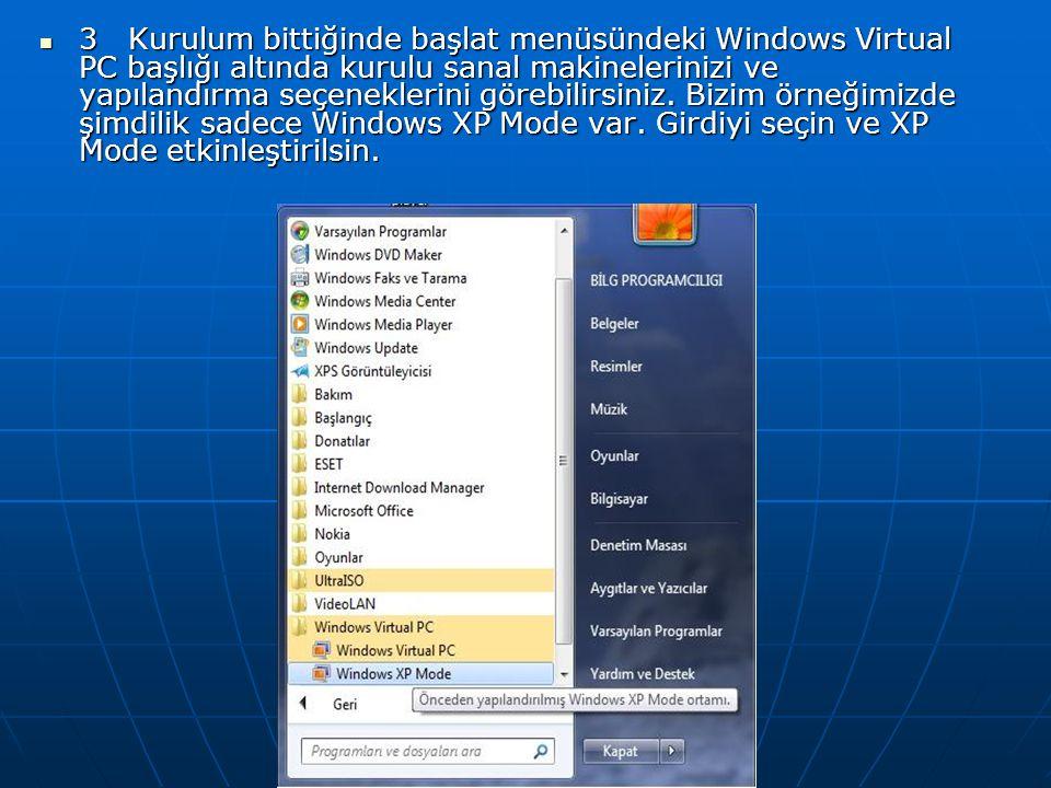 3 Kurulum bittiğinde başlat menüsündeki Windows Virtual PC başlığı altında kurulu sanal makinelerinizi ve yapılandırma seçeneklerini görebilirsiniz.