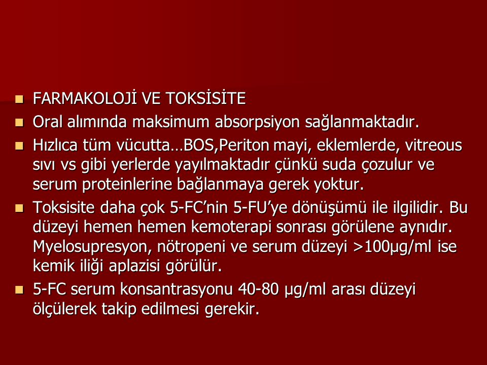 FARMAKOLOJİ VE TOKSİSİTE
