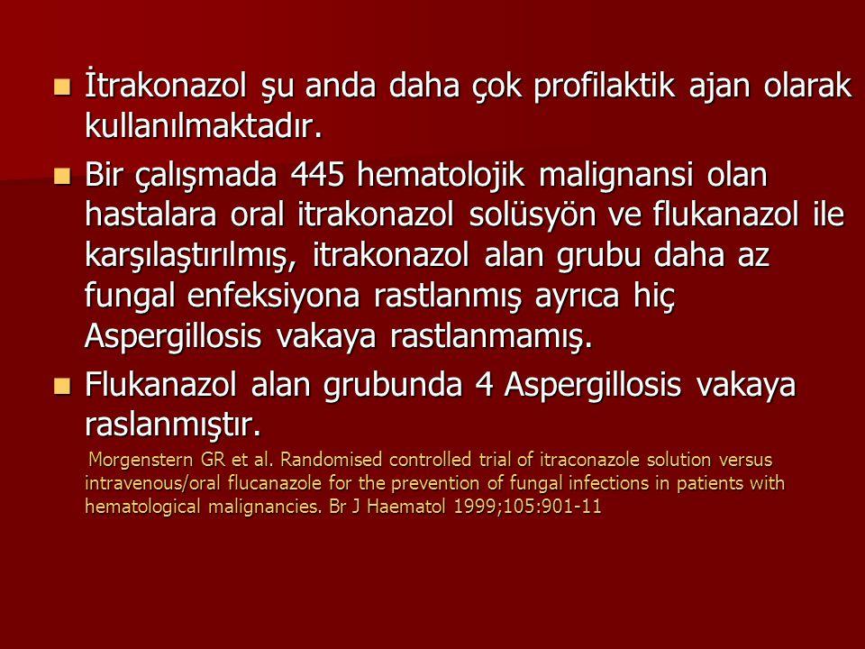 İtrakonazol şu anda daha çok profilaktik ajan olarak kullanılmaktadır.