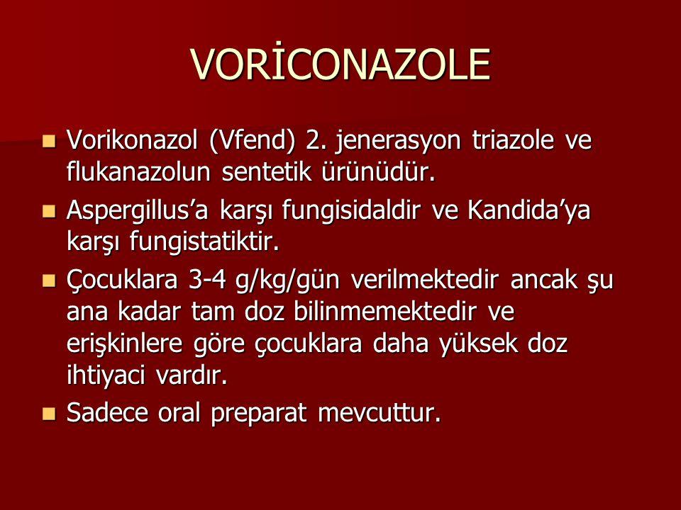 VORİCONAZOLE Vorikonazol (Vfend) 2. jenerasyon triazole ve flukanazolun sentetik ürünüdür.