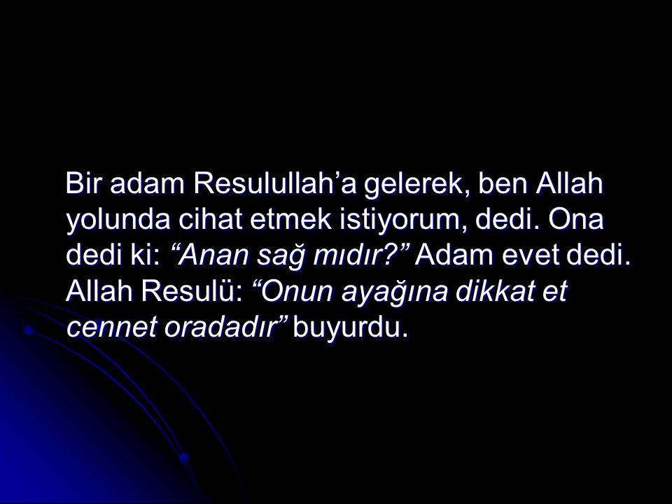 Bir adam Resulullah'a gelerek, ben Allah yolunda cihat etmek istiyorum, dedi.