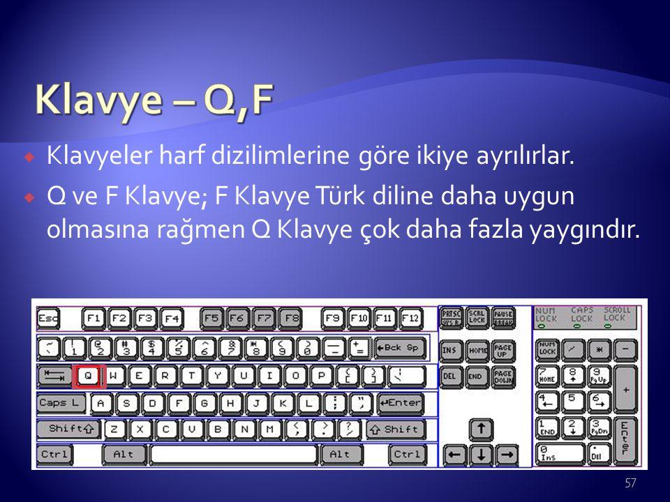 Klavye – Q,F Klavyeler harf dizilimlerine göre ikiye ayrılırlar.