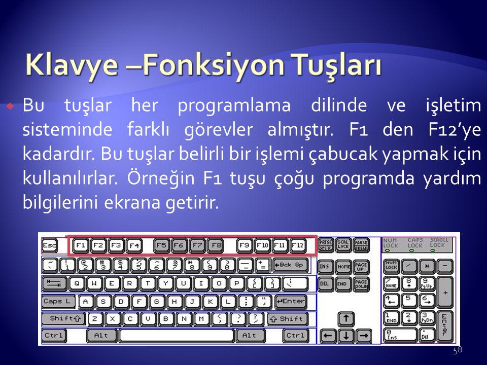Klavye –Fonksiyon Tuşları