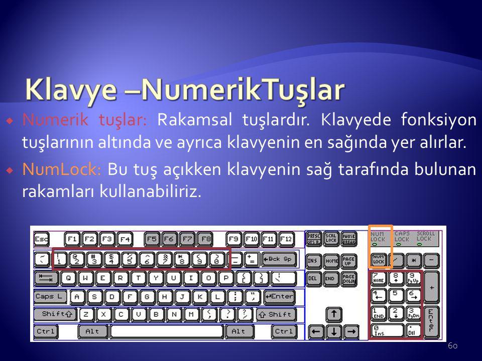 Klavye –NumerikTuşlar