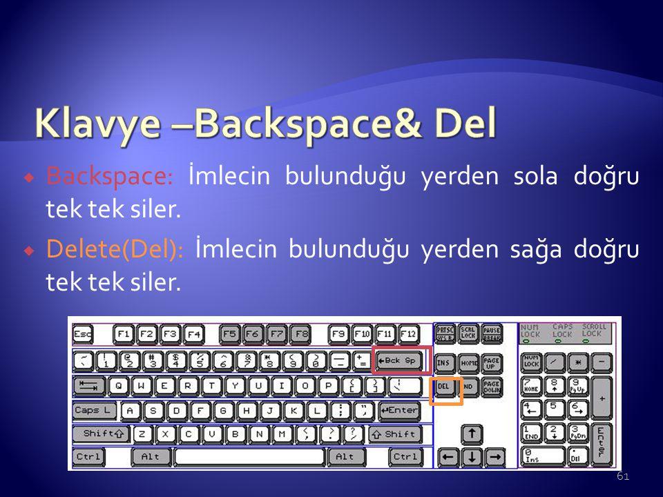Klavye –Backspace& Del