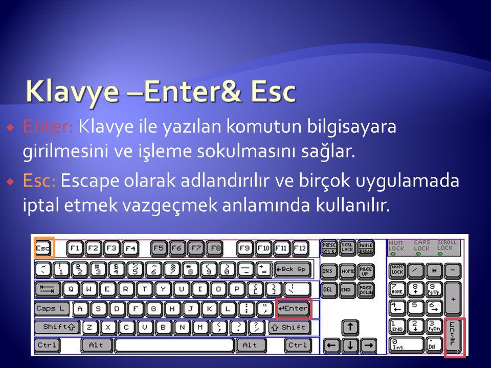 Klavye –Enter& Esc Enter: Klavye ile yazılan komutun bilgisayara girilmesini ve işleme sokulmasını sağlar.