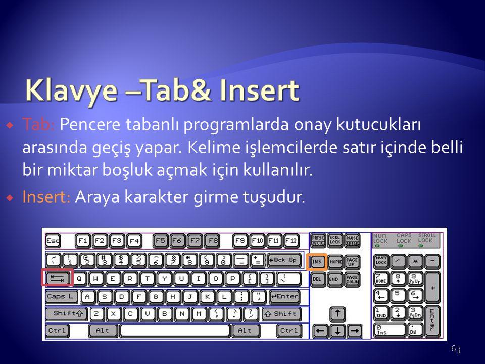 Klavye –Tab& Insert