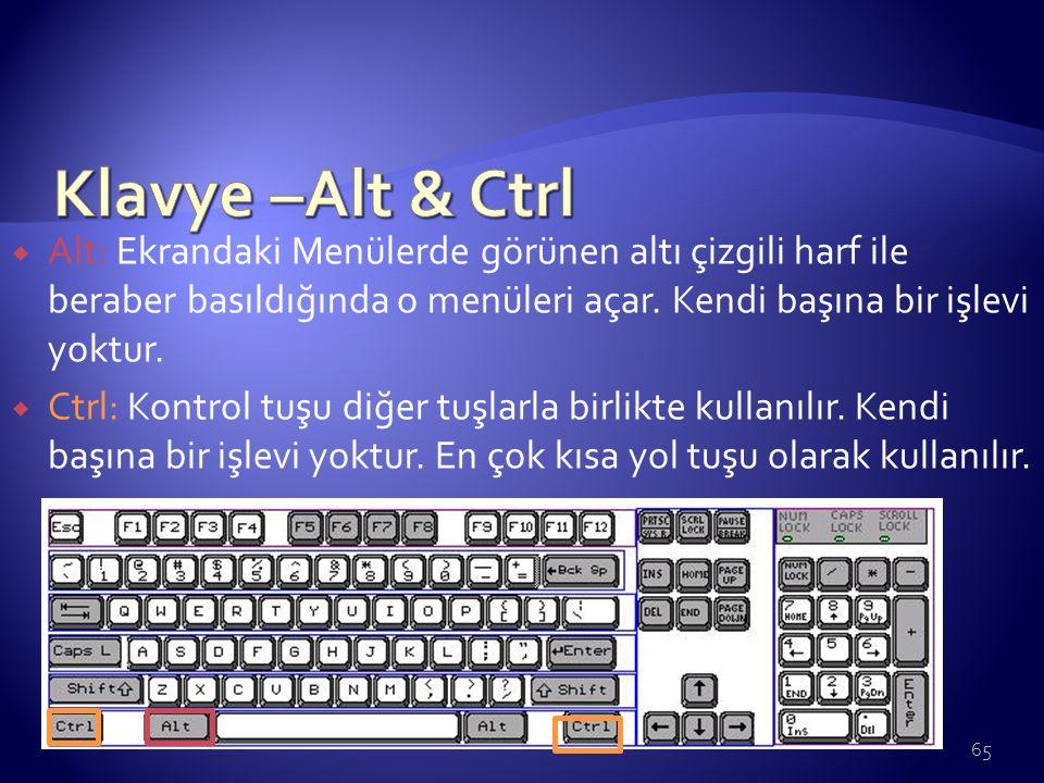 Klavye –Alt & Ctrl Alt: Ekrandaki Menülerde görünen altı çizgili harf ile beraber basıldığında o menüleri açar. Kendi başına bir işlevi yoktur.
