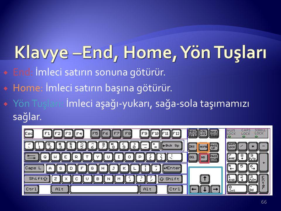 Klavye –End, Home, Yön Tuşları