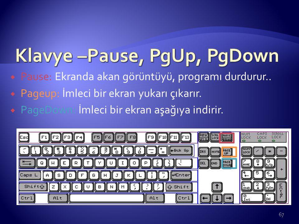 Klavye –Pause, PgUp, PgDown