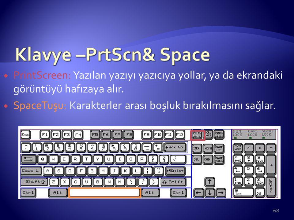 Klavye –PrtScn& Space PrintScreen: Yazılan yazıyı yazıcıya yollar, ya da ekrandaki görüntüyü hafızaya alır.
