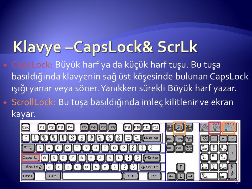 Klavye –CapsLock& ScrLk