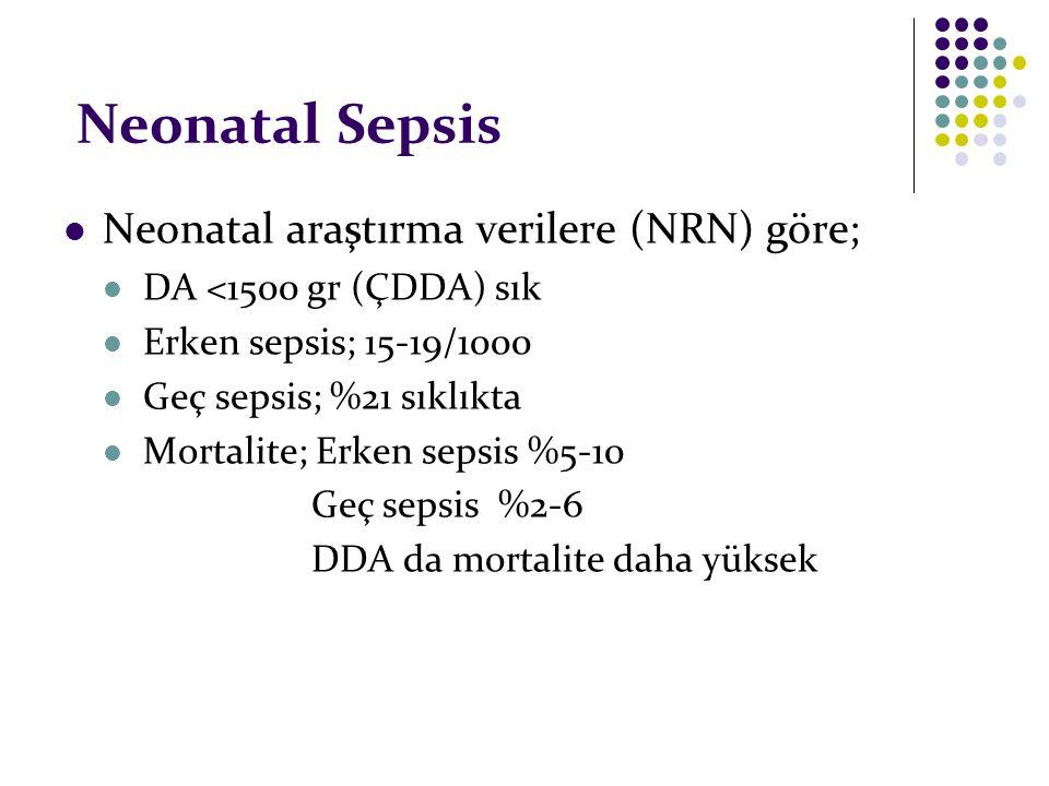 Neonatal Sepsis Neonatal araştırma verilere (NRN) göre;