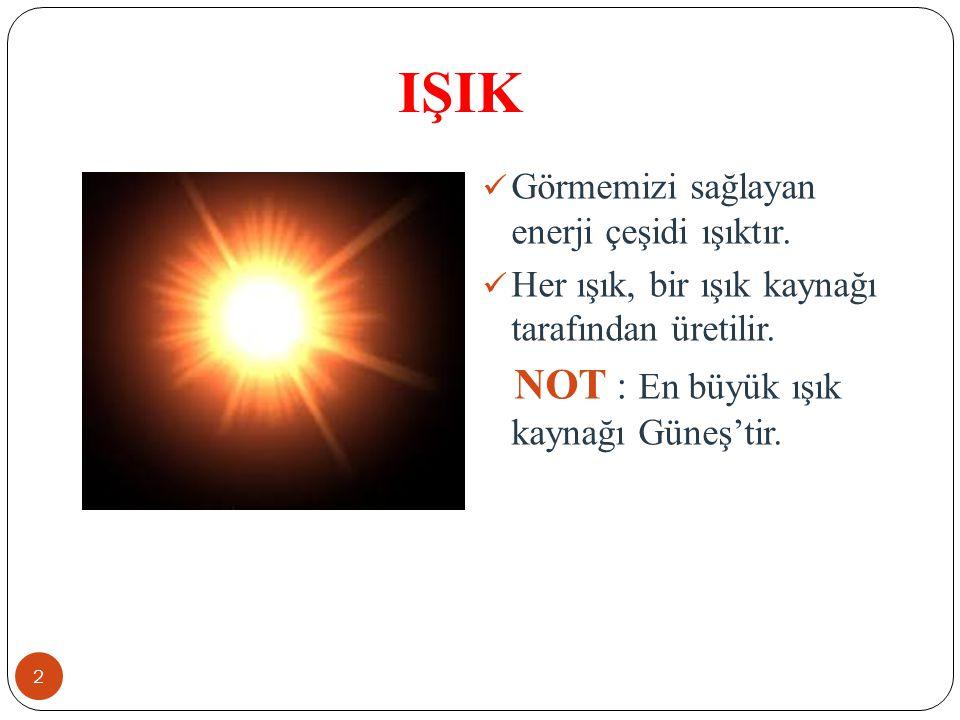 IŞIK NOT : En büyük ışık kaynağı Güneş'tir.
