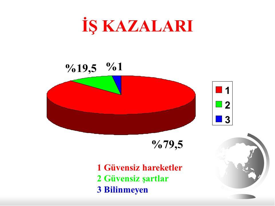 İŞ KAZALARI %1 %19,5 %79,5 1 2 3 1 Güvensiz hareketler