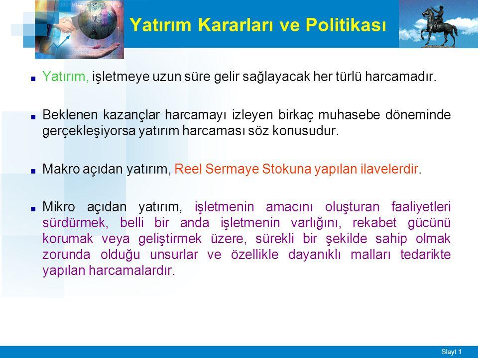 FİNANS POLİTİKASI SERMAYE KULLANIM POLİTİKASI