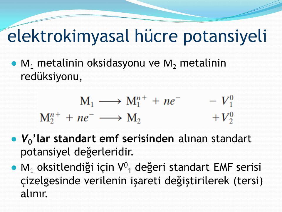 elektrokimyasal hücre potansiyeli