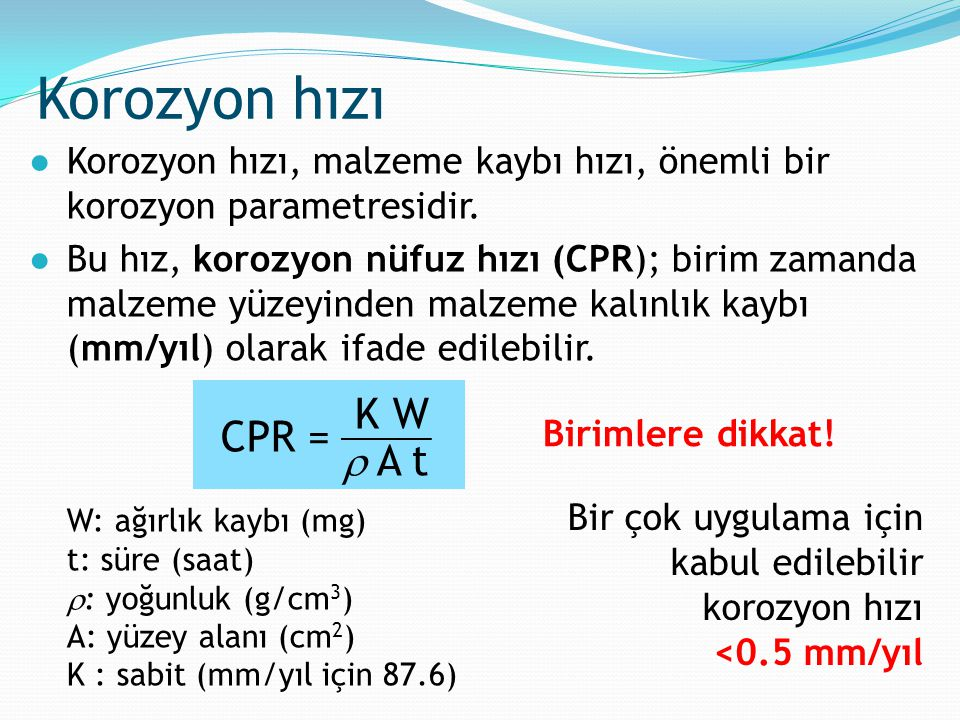 Korozyon hızı K W CPR =  A t