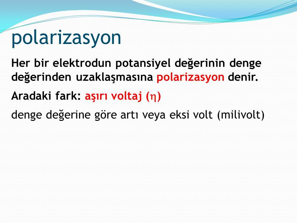 polarizasyon Her bir elektrodun potansiyel değerinin denge değerinden uzaklaşmasına polarizasyon denir.