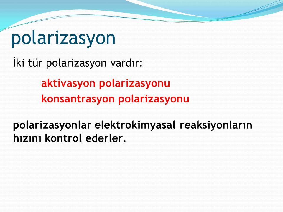 polarizasyon İki tür polarizasyon vardır: aktivasyon polarizasyonu