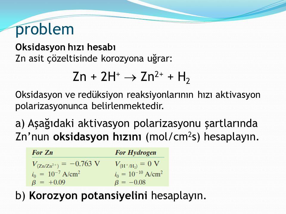problem Oksidasyon hızı hesabı. Zn asit çözeltisinde korozyona uğrar: Zn + 2H+  Zn2+ + H2.