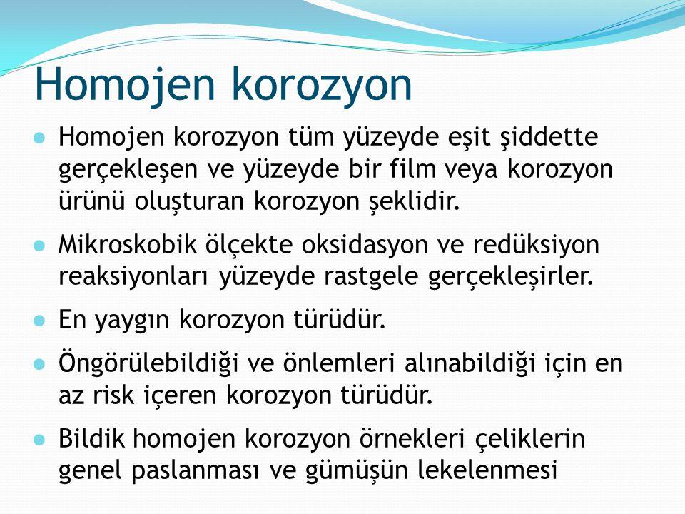 Homojen korozyon Homojen korozyon tüm yüzeyde eşit şiddette gerçekleşen ve yüzeyde bir film veya korozyon ürünü oluşturan korozyon şeklidir.