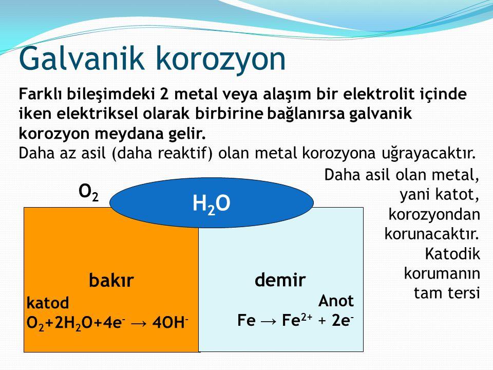 Galvanik korozyon H2O O2 bakır demir