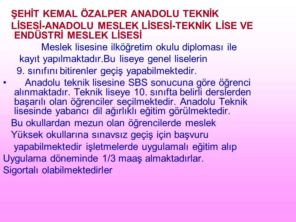 ŞEHİT KEMAL ÖZALPER ANADOLU TEKNİK
